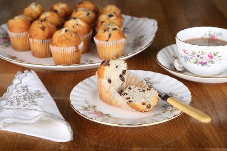 Afternoon tea in England with chocolate muffins and a nice cup of tea Stock Photo - 10827167