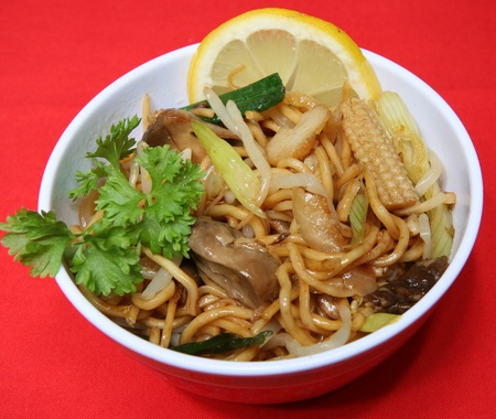 A dish of vegetable chow mein Stock Photo