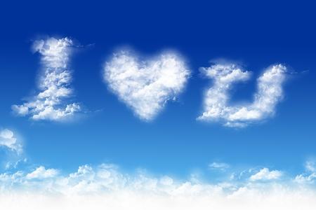Cloud-shaped I love you on a sky