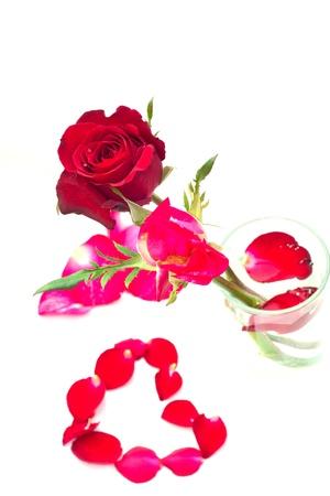Drop a heart-shaped rose petals. Stock Photo