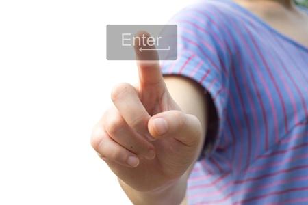 woman hand pressing Enter icon