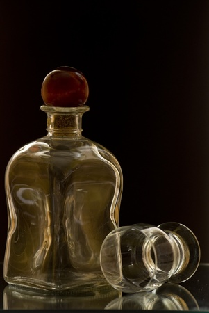 Glass on black background photo