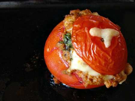 farci: Sticked tomato with meat and cheese