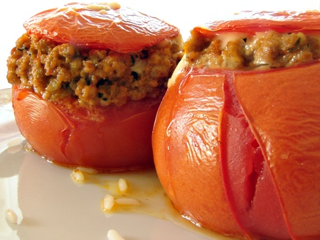 farci: Sticked tomato with meat and cheese  Stock Photo
