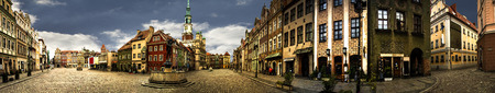 guild hall: Panorama of market place in the center of Poznań in Poland.