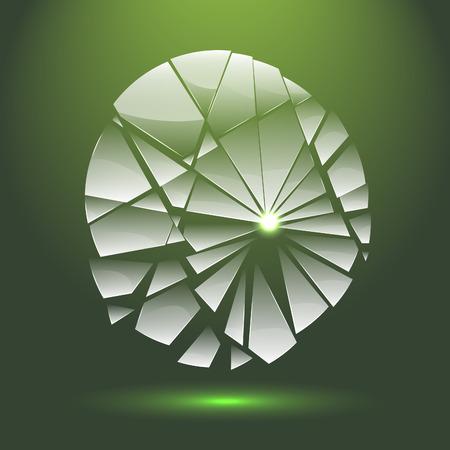 Gebroken abstracte transparant glas met de aanpassing aan de achtergrond