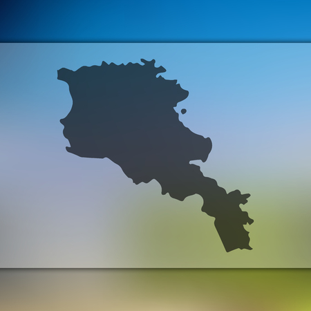 Armenia map. Blurred background with silhouette of Armenia map. Vector silhouette of Armenia map Illustration