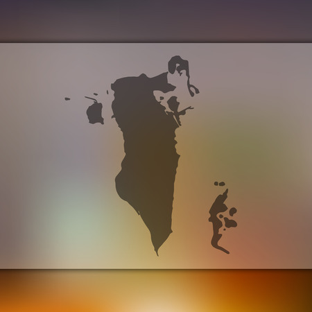 Bahrain map. Blurred background with silhouette of Bahrain map. Vector silhouette of Bahrain map