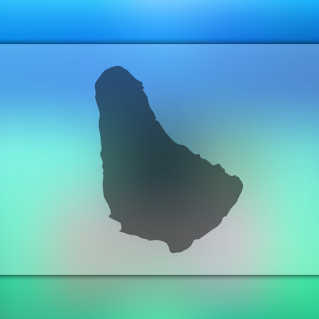 Barbados map. Blurred background with silhouette of Barbados map. Vector silhouette of Barbados map