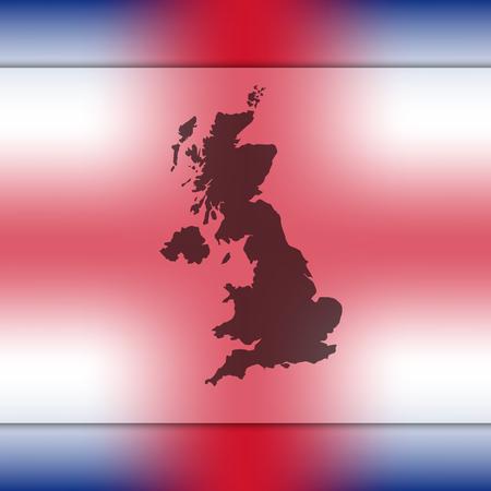United Kingdom map on blurred background. Blurred background with silhouette of United Kingdom. United Kingdom. United Kingdom map. London. England map. England. United Kingdom flag. Great Britain.