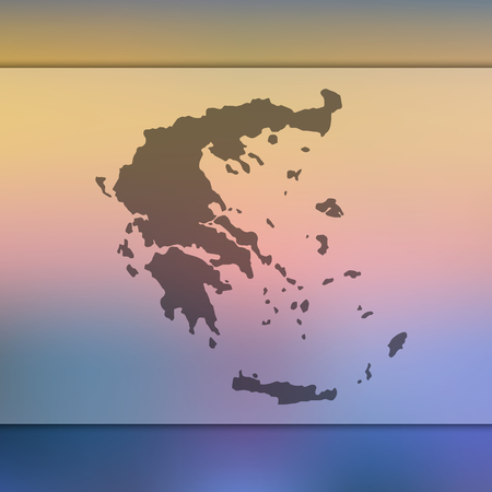 Blurred background with silhouette of Greece map.
