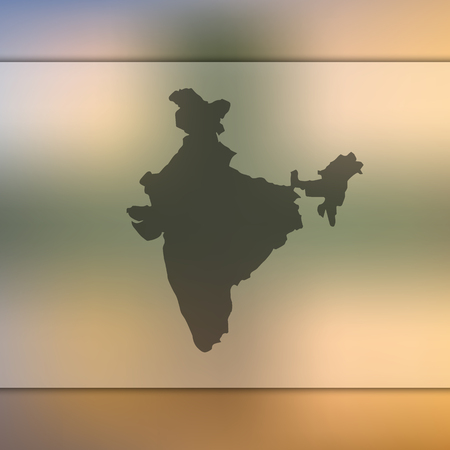 India map. Blurred background with silhouette of India map. Vector silhouette of India map Illustration