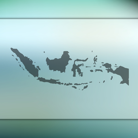 Indonesia map. Blurred background with silhouette of Indonesia map. Vector silhouette of Indonesia map Stock Vector - 90064421
