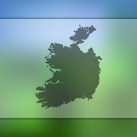 counties: Ireland map. Blurred background with silhouette of Ireland map. Vector silhouette of Ireland map