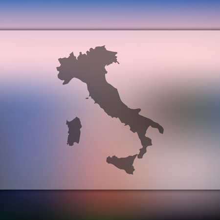 Blurred background with silhouette of Italy map. Vector silhouette of Italy map