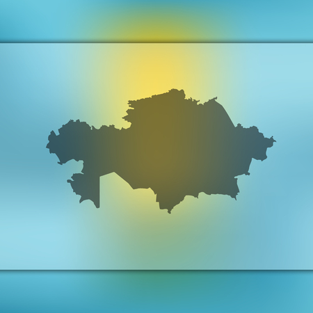 Blurred background with silhouette of Kazakhstan map. Vector silhouette of Kazakhstan map Illustration