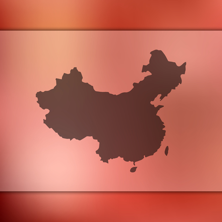 Blurred background with silhouette of China map. Vector silhouette of China map