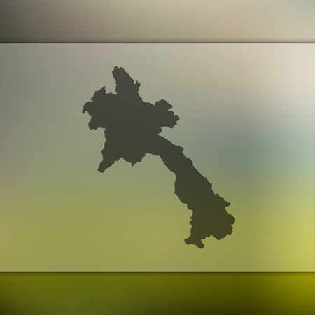 Blurred background with silhouette of Laos map.