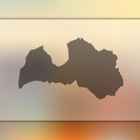 Blurred background with silhouette of Latvia map.