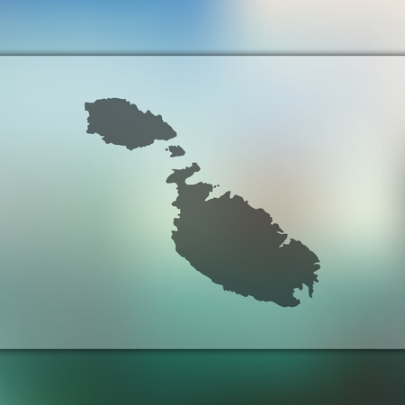 Malta map. Blurred background with silhouette of Malta map. Vector silhouette of Malta map.