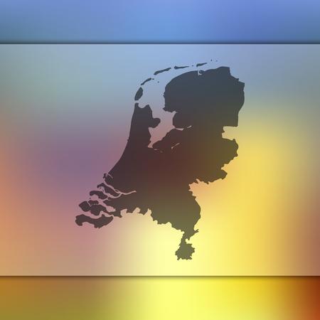 Nederland kaart. Onscherpe achtergrond met silhouet van Nederland kaart. Vector silhouet van Nederland kaart