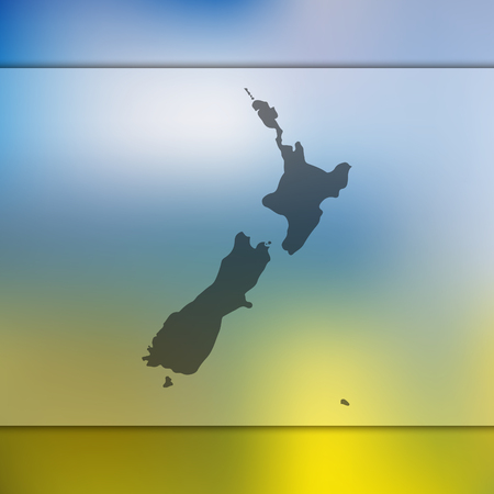 New Zealand map. Blurred background with silhouette of New Zealand map. Vector silhouette of New Zealand map.