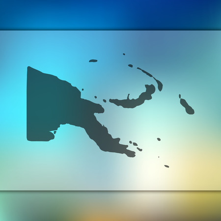 Papua New Guinea map. Blurred background with silhouette of Papua New Guinea map. Vector silhouette of Papua New Guinea map.