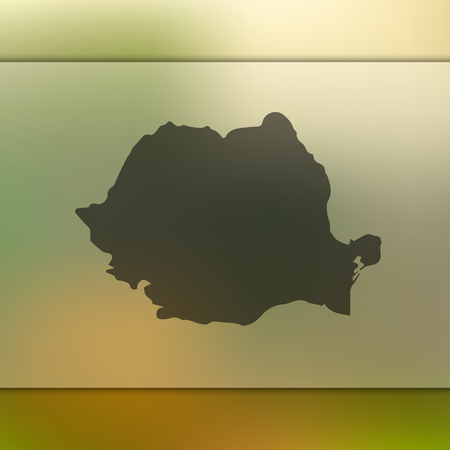Romania map. Blurred background with silhouette of Romania map. Vector silhouette of Romania map.