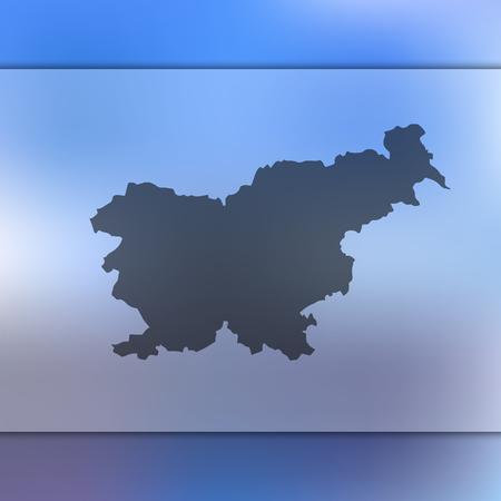 슬로베니아지도. 슬로베니아지도의 실루엣과 배경을 흐리게. 슬로베니아지도의 벡터 실루엣입니다.