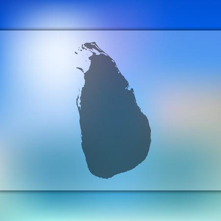 Sri Lanka map. Blurred background with silhouette of Sri Lanka map. Vector silhouette of Sri Lanka map.
