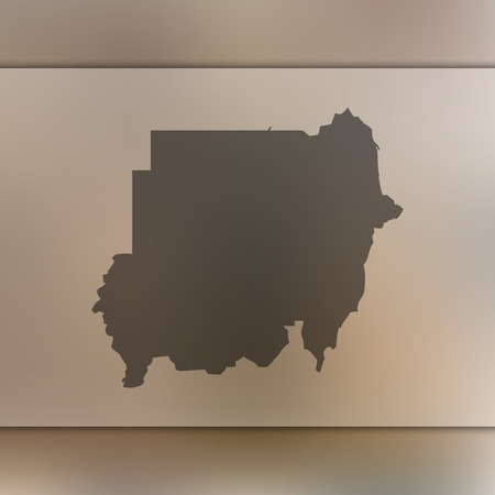 Sudan map. Blurred background with silhouette of Sudan map. Vector silhouette of Sudan map.