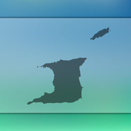 Trinidad and Tobago map. Blurred background with silhouette of Trinidad and Tobago map. Vector silhouette of Trinidad and Tobago map.