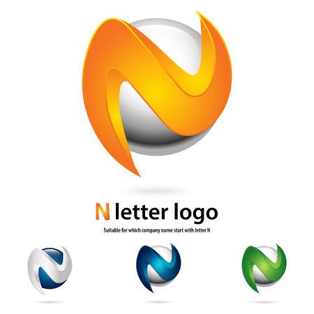 N 3d letter logo  design