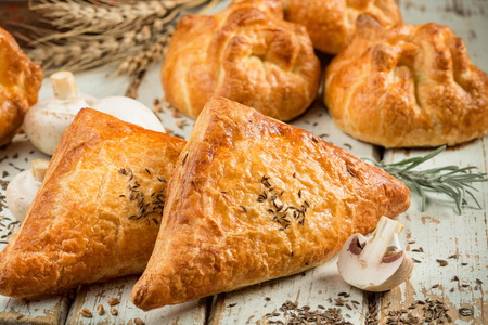 Puff pastry with champignon mushrooms close up Stock Photo