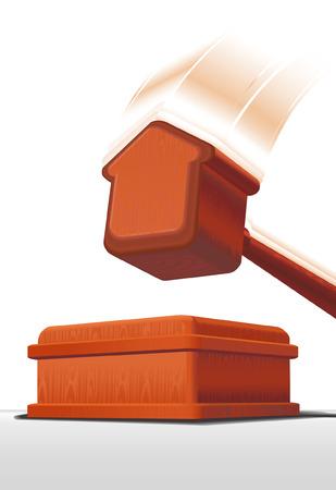 veiling: veiling hamer van dure hout in de vorm van huis