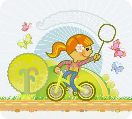 butterfly net: little girl riding a bicycle and a butterfly net catching butterflies Illustration