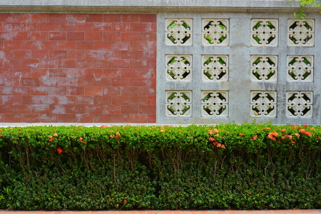 Red Brick and White Ceramic Wall with Green Bush