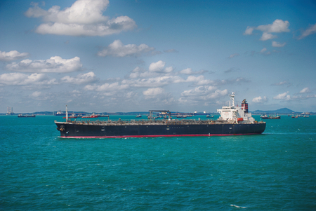 Motor Tanker Sailing on the High Sea Stock Photo
