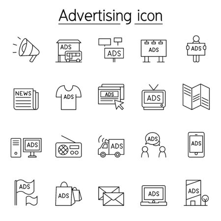 Advertising, marketing icon set in thin line style