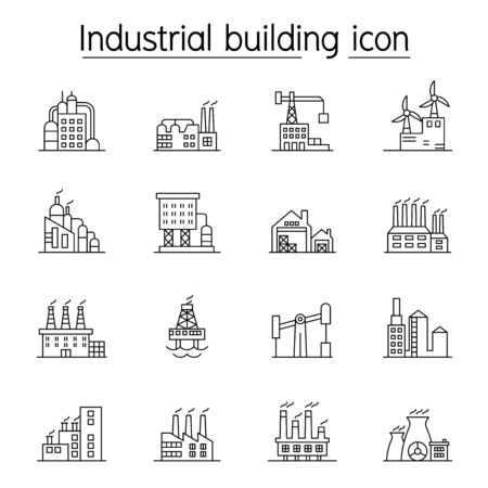 Industrial building, Factory, Plant icon set in thin line style