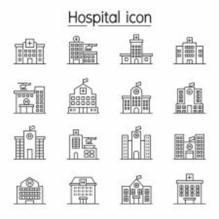 Krankenhausgebäude, Symbol des medizinischen Zentrums im dünnen Linienstil Vektorgrafik
