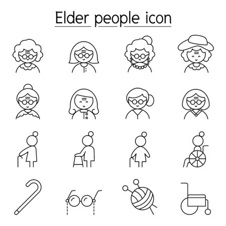 Elder woman, Grandmother icon set in thin line style 矢量图像