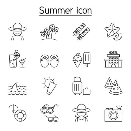 Summer icon set in thin line style