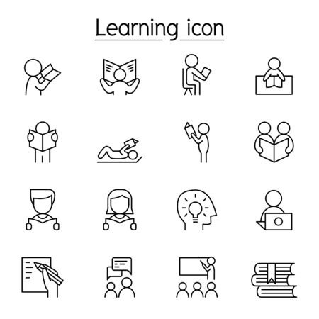 Learning & Reading icon set in thin line style