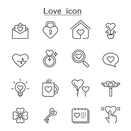 Liefde pictogrammenset in dunne lijnstijl