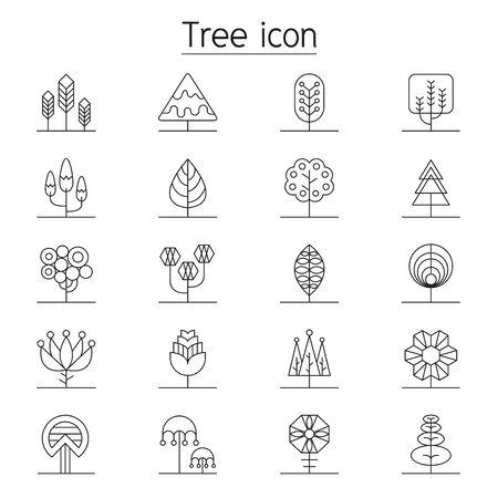 Icona dell'albero impostato in stile linea sottile Vettoriali