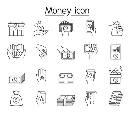 Financial & banking icon set in thin line style Vecteurs