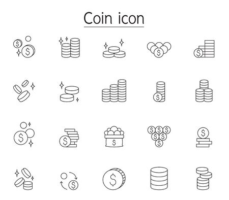 Coin icon set in thin line style 向量圖像