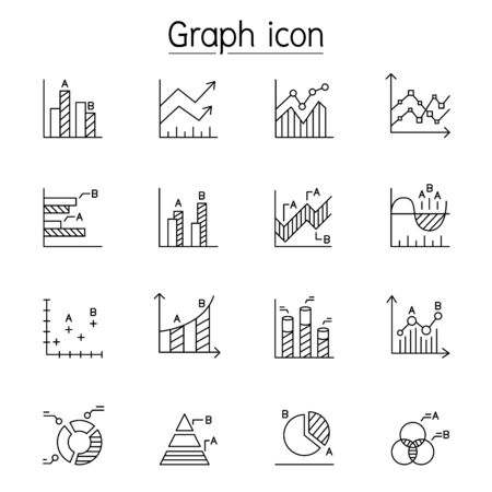 Graph, Chart, Diagram, Data, Infographic icon set in thin line style