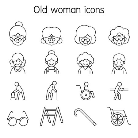 Old woman, Elder woman, Grandmother icon set in thin line style 矢量图像